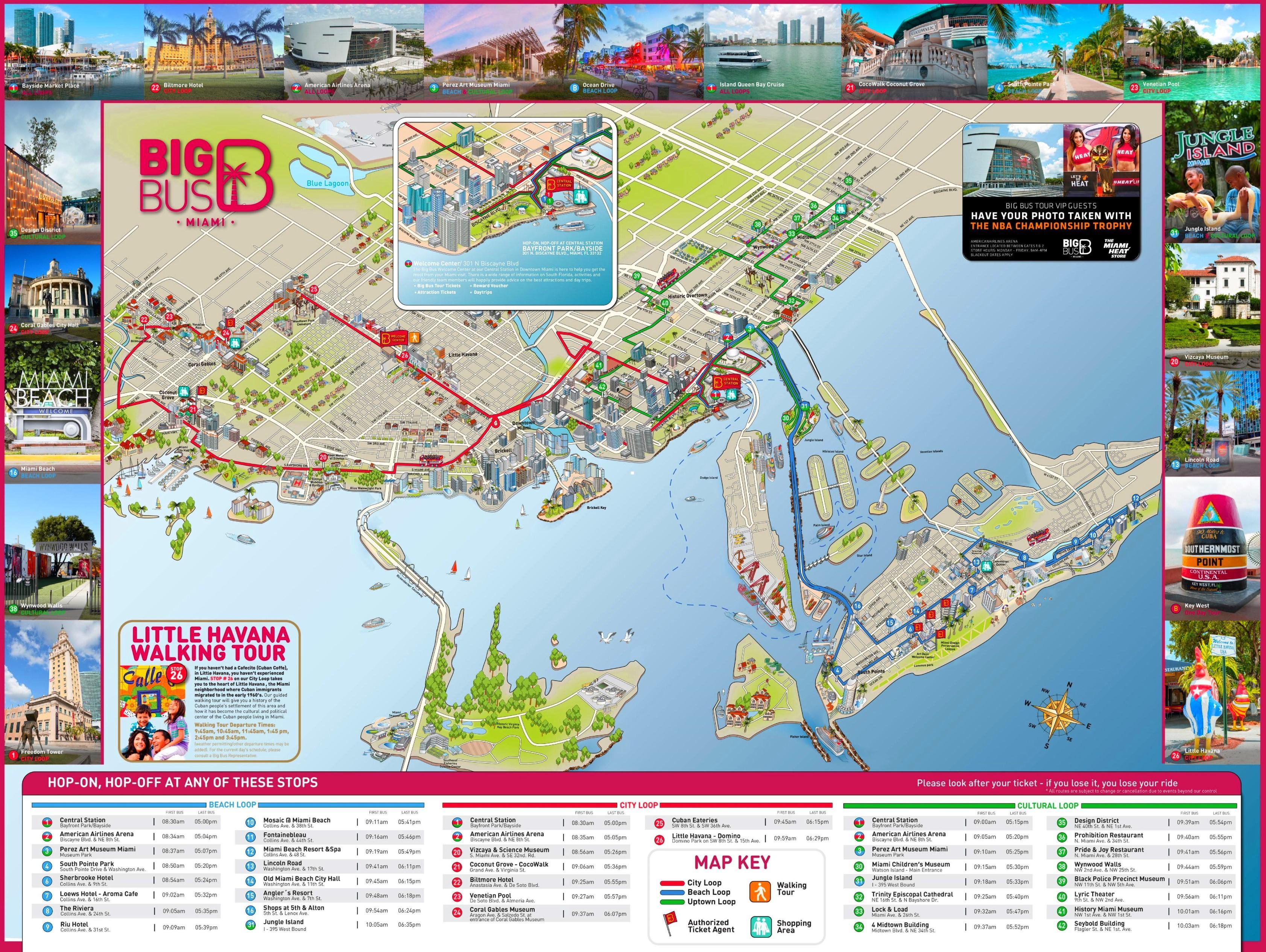 miami karta Miami sightseeing karta   City sightseeing Miami karta (Florida, USA) miami karta