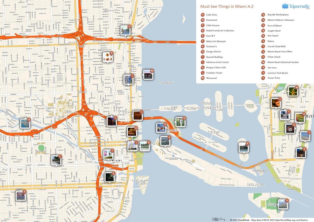 Miami Turist Karta Turist Karta Over Miami Florida Usa